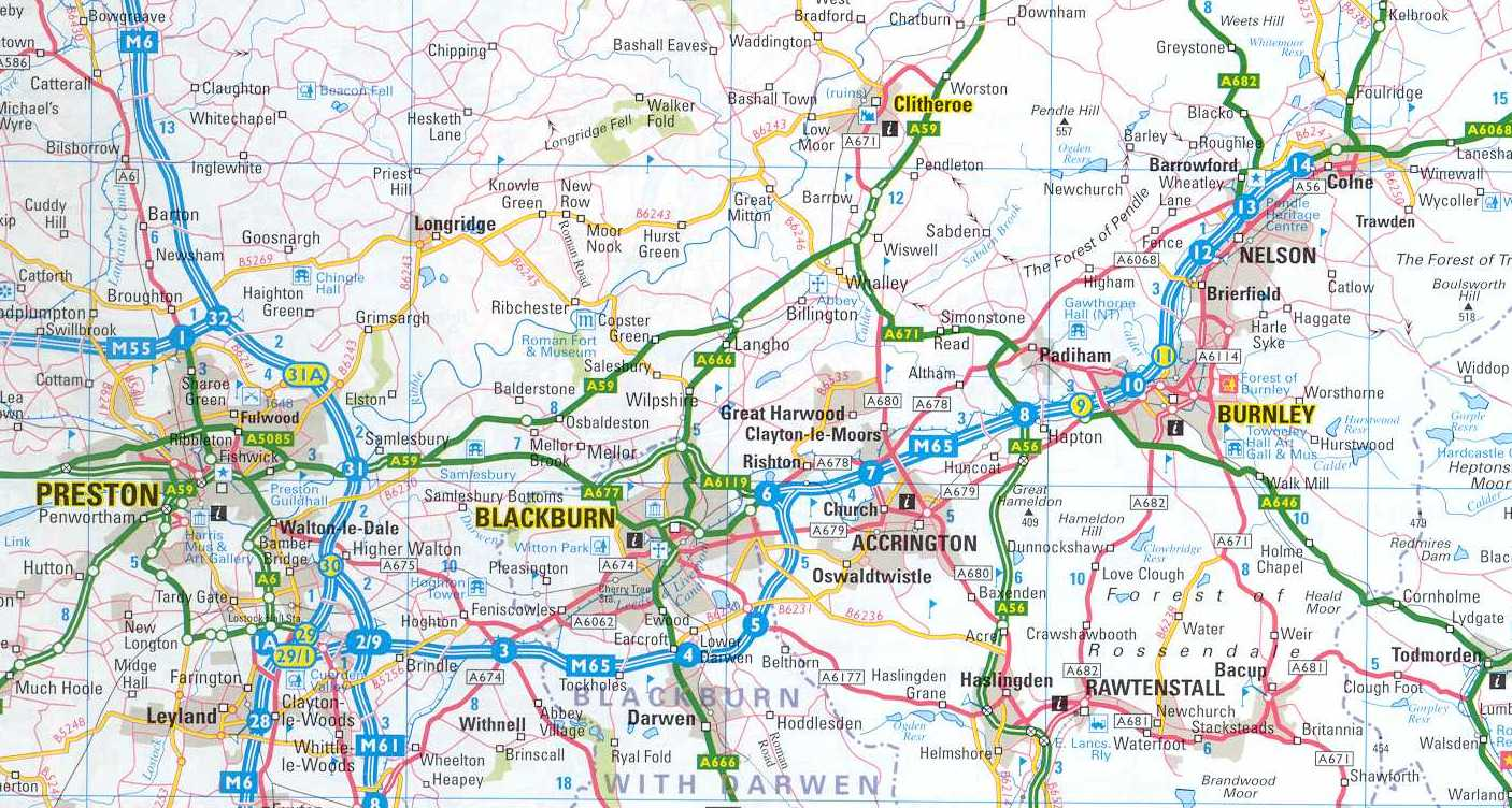 regional map of the blackburn area